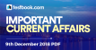 Current Affairs 9th December 2018 - Testbook