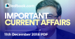 Current Affairs 11th December 2018 - Testbook