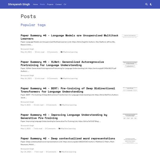 Shreyansh's ML Paper Summaries Blog
