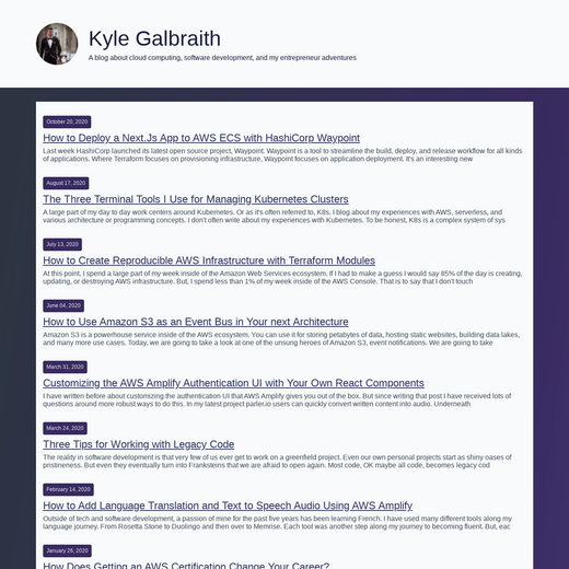Kyle Galbraith's Blog