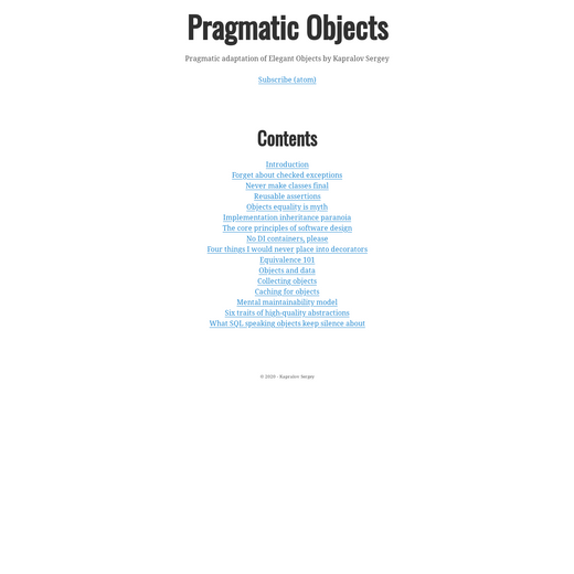 Pragmatic Objects