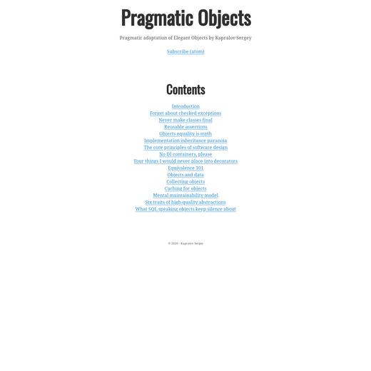 Pragmatic Objects