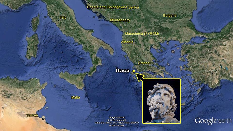 mapa odisea ulises viaje casa regreso homero desventuras Tiberio Sperlonga Italia itaca