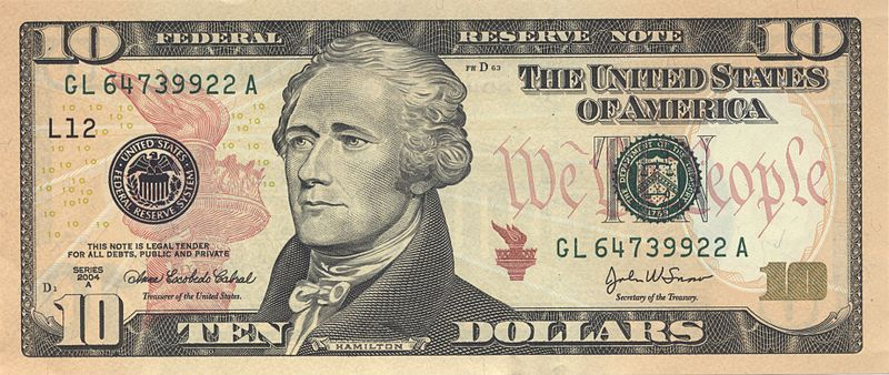 revolution ten dollar bill Alexander Hamilton portrait 1805 John Trumbull