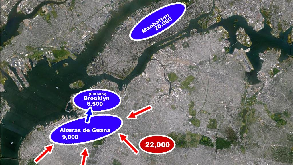 Batalla Long Island Britanicos ejercito continental mapa