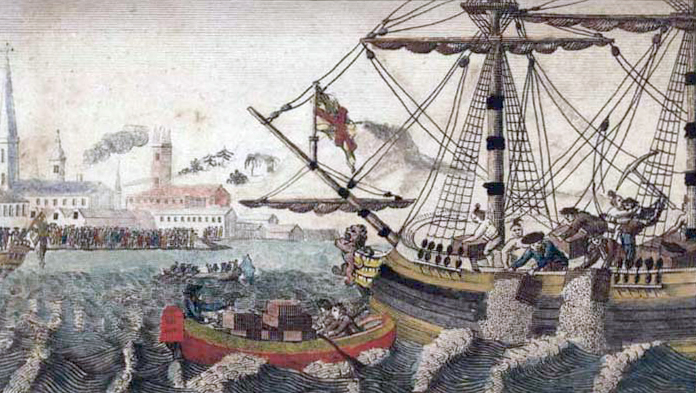 painting Boston citizens destroying shipment tea east India Company