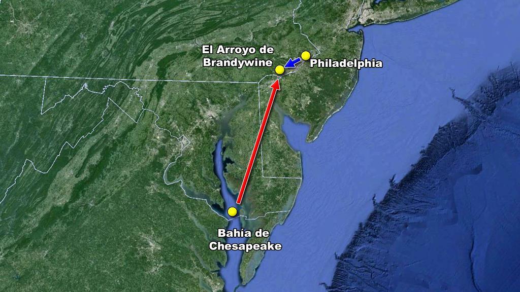 Britanicos bahia chesapeake Philadelphia interceptados batalla Brandywine