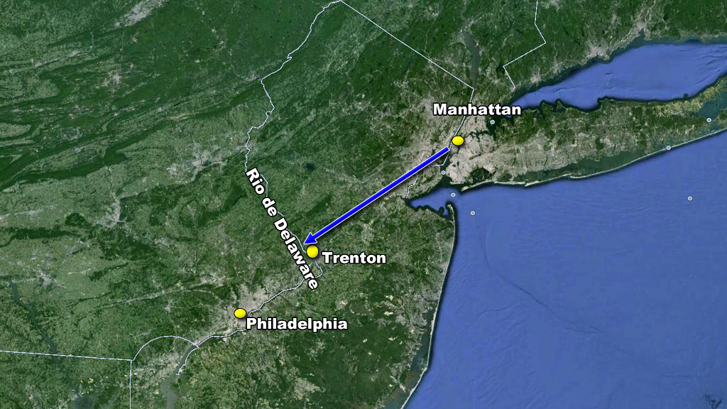 Retirada hacia Philadelphia mapa washington