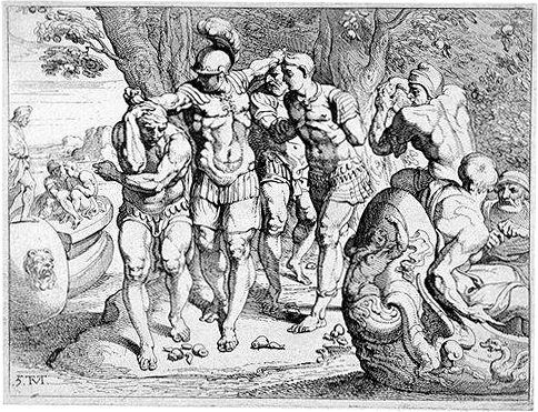 odyssey odysseus travels home return homer troubles pleasures stupid decisions Odysseus dragging his men out Lotus eater land