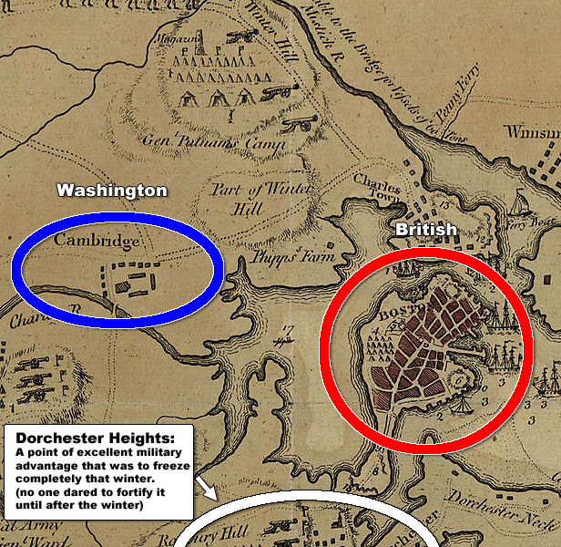 revolution Washington headquarters Cambridge British Boston Dorchester Heights