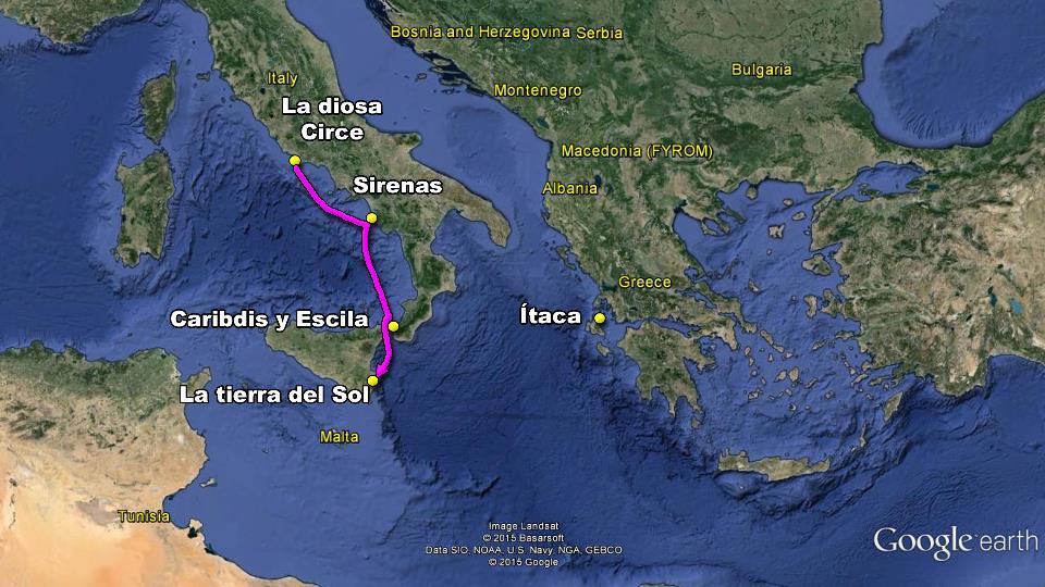 mapa odisea ulises viaje casa regreso homero desventuras itaca circe sirenas escila caribdis tierra del sol monstruos messina estrecho italia