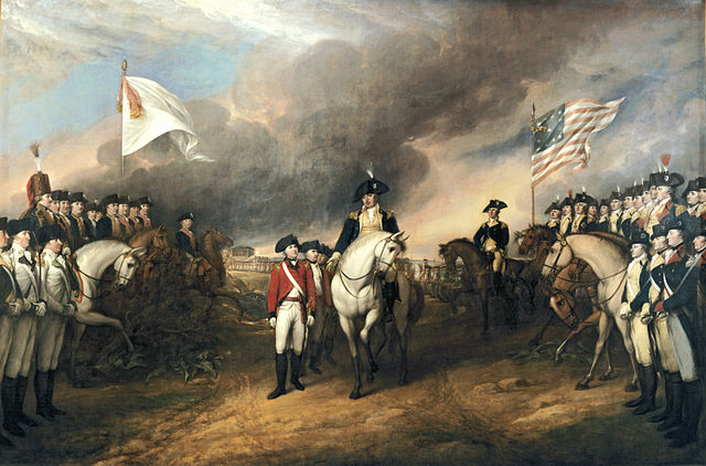 revolution Defeated British soldiers walking through double column  American soldiers