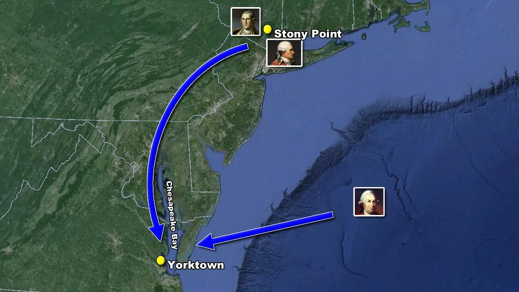 revolution Moving towards Yorktown map