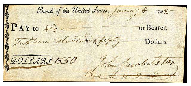cheque  Banco Central firmado Johann Jakob Astor 1550 dolares 1792