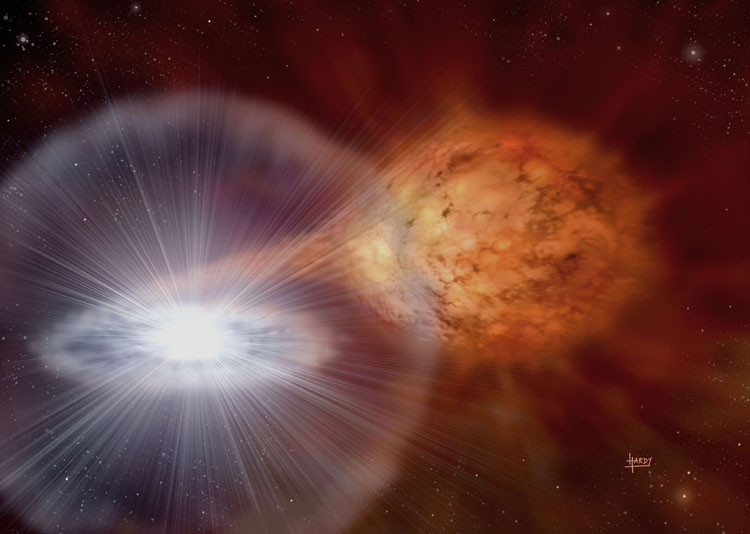 binary star system white dwarf stellar dust shed red giant explosions Novas known luminescence standard candles