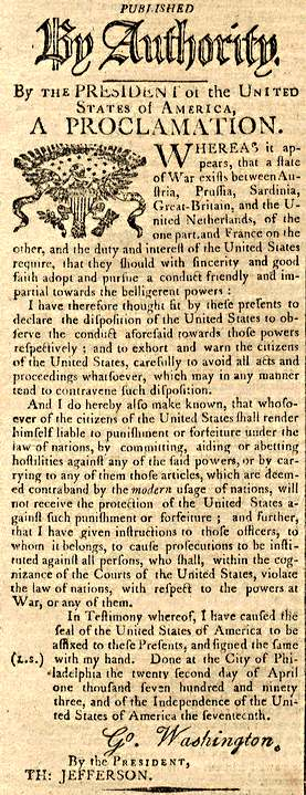 Proclamation Neutrality Columbian Centinel May 4 1793