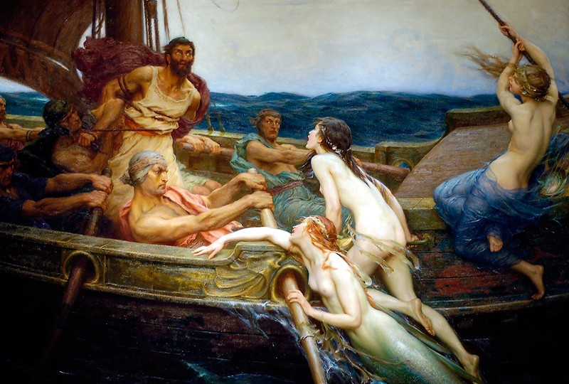 odyssey odysseus travels home return homer troubles pleasures stupid decisions sirens songs beautiful tied up post mast wax ears