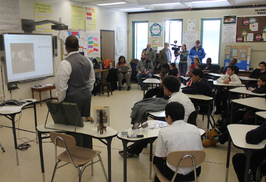 Students in Rochester, NY participate in the national webinar on Martin Luther King, Jr.