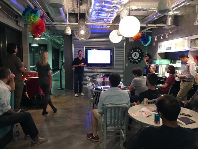 CEO of M.io pitching their product during a BotKit meetup.