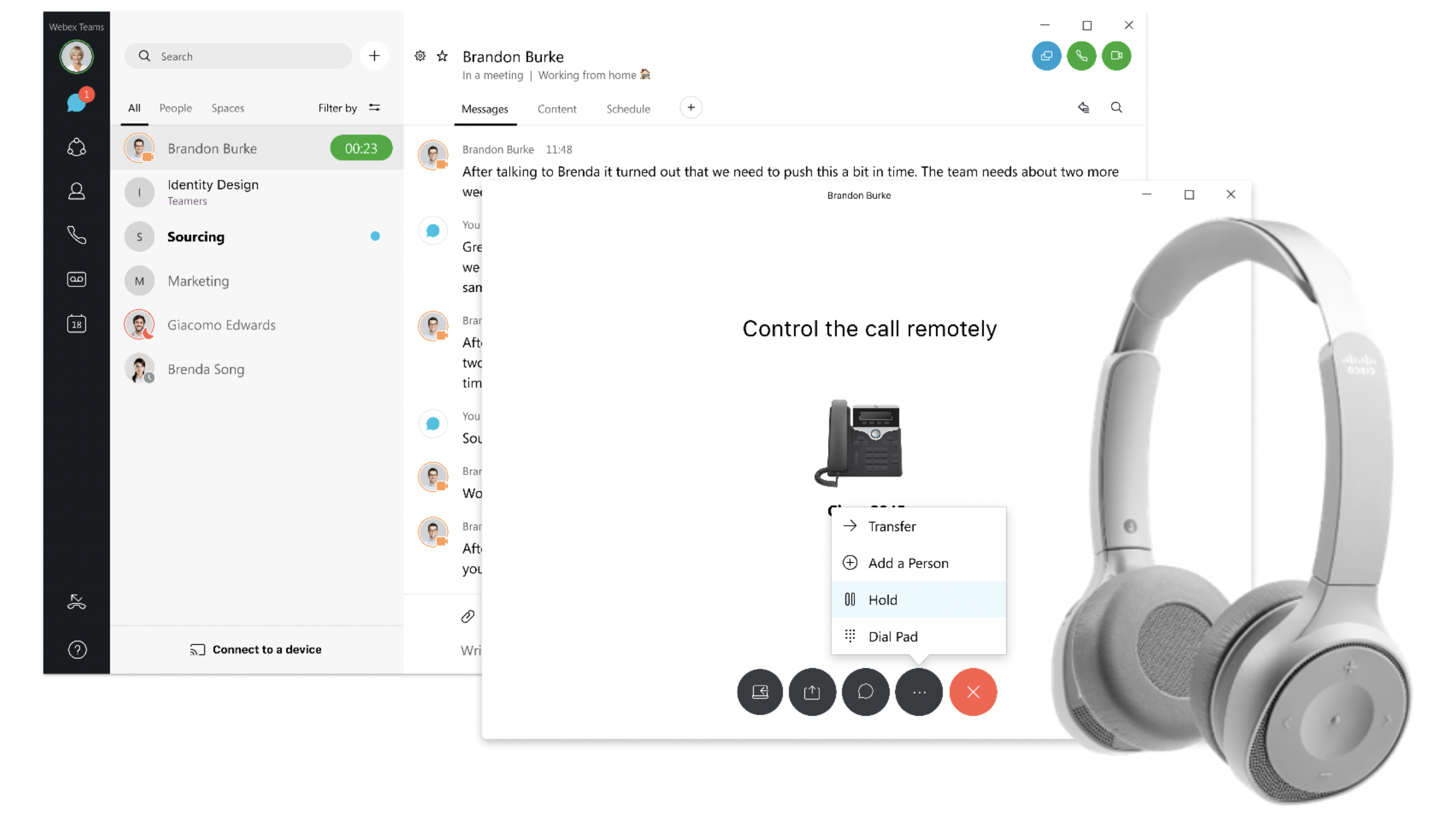 New desk phone controls in Webex and intelligent Cisco headsets enable hands free business calling
