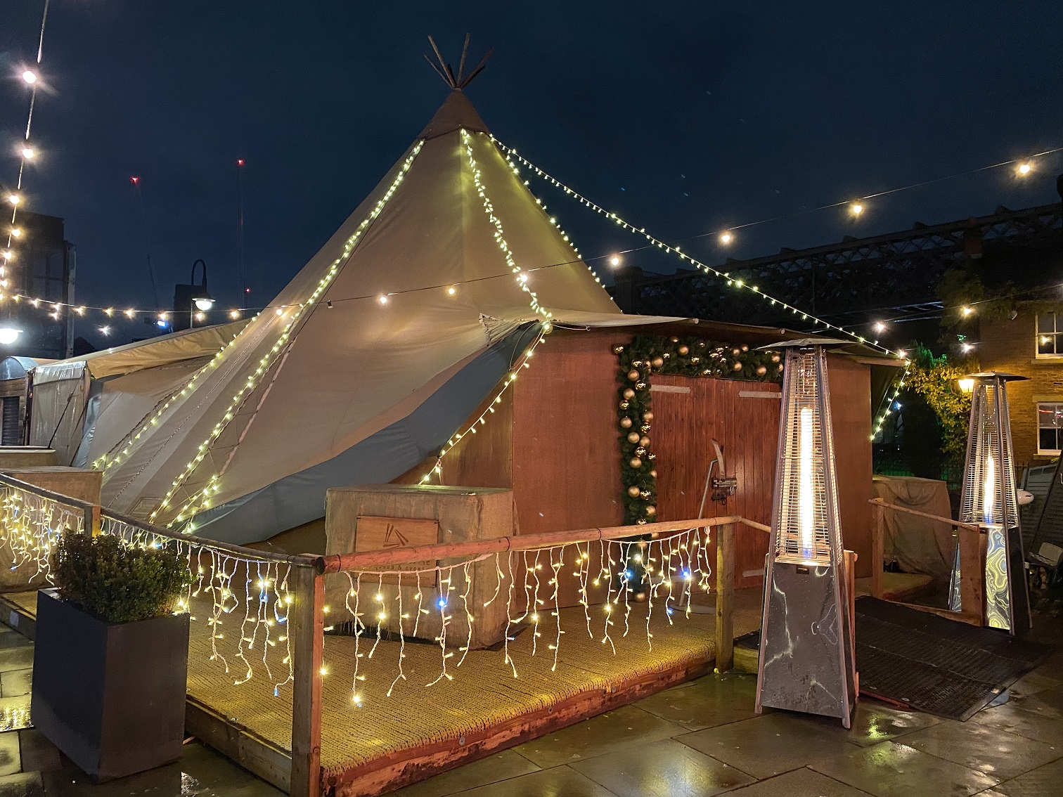 The quirky tent in Manchester City Centre all lit up for the Christmas party Milly helped put together!