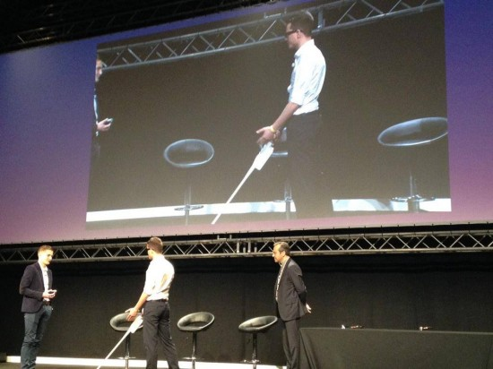 Founders of the start-up Handisco demonstrate their networked walking stick that helps visually impaired people navigate cities.