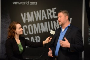 Community Building! Amy Lewis interviewing Fred Nix at VMworld Barcelona. (photo credit: Nick Howell)