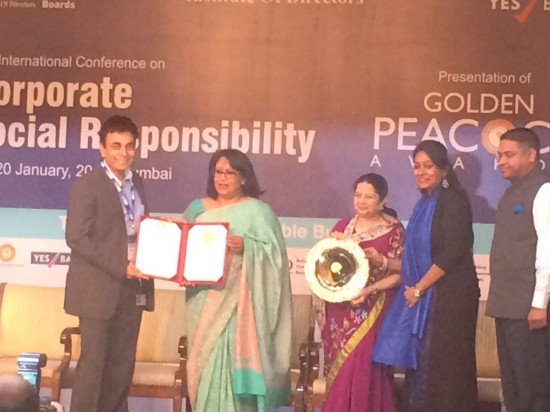 Representatives from Cisco India accept the Golden Peacock Award for Corporate Social Responsibility