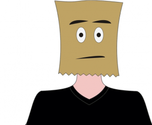 Workplace Experiences- #TurnOnVideo – It's No Longer Optional. cartoon man with bag on his head