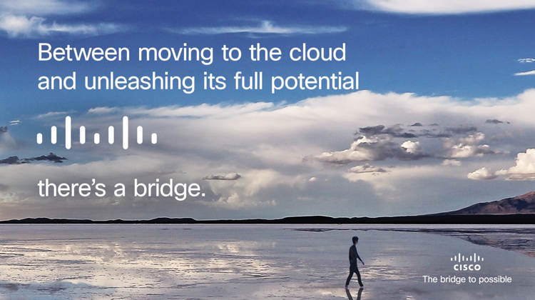 From Digital conferences to work-from-home Cisco Collaboration has got your back. A banner that reads- Between moving to the cloud and unleashing its full potential, there's a bridge, Cisco, the bridge to possible, on top of a background portrait of a man walking on a beach at sunset