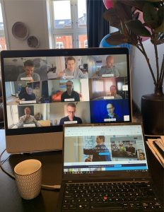 Transform your collaboration experience. Remote team on screen working together and collaborating