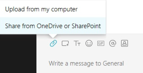Webex Teams integrated with third party| image showing adding a file on WebexTeams with the text share from OneDrive or SharePoint