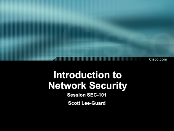 Title slide from my first ever Networkers presentation in 2002