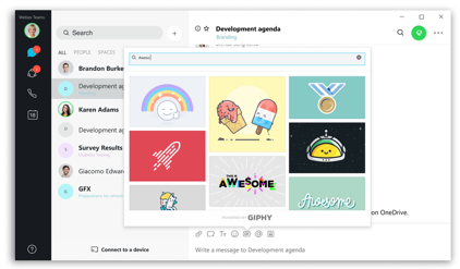 Recognize good work with WebexTeam space with a GIF| Webex Team space with several options for a GIF image including rocket for way to go, a medal, and awesome text in sparkles