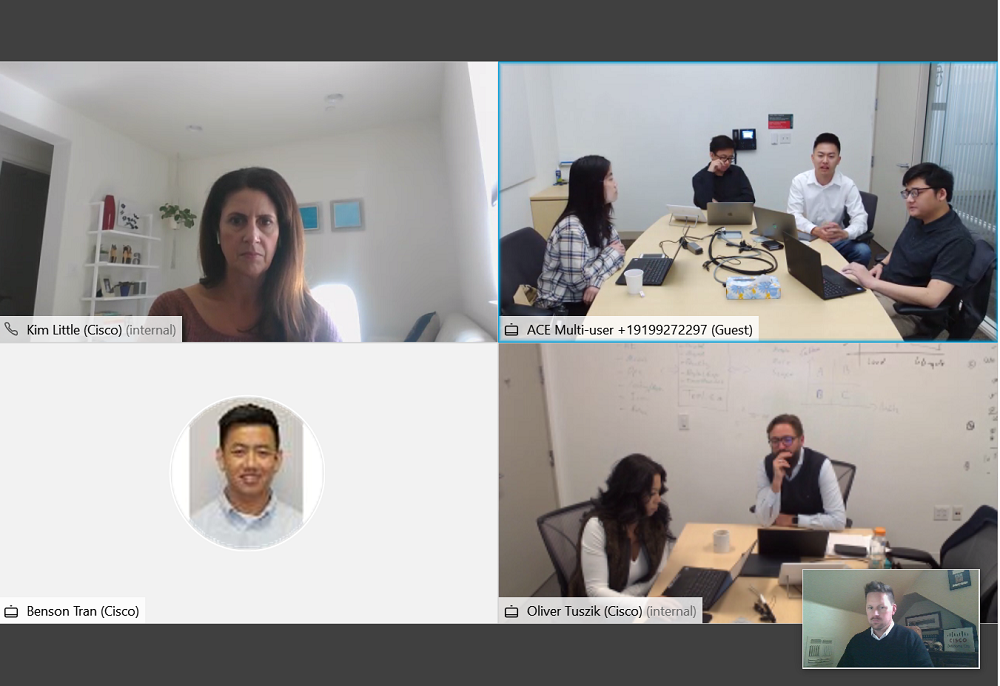 A screenshot from Webex with 4 quadrants of participants and Peter's boss in the lower right hand corner.