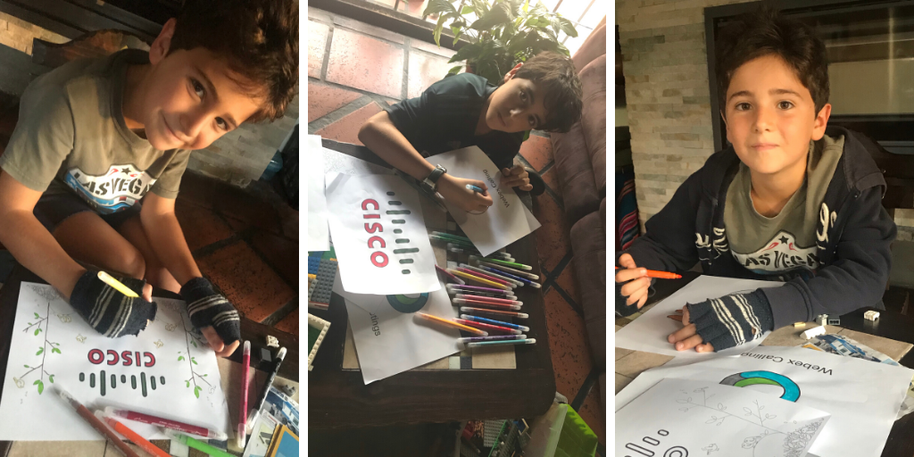 Collage of 3 images of children coloring in the Cisco coloring book.