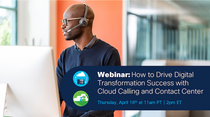 Don't Wait. Now is the Time to Move Your Calling and Contact Centers to the Cloud. African American man talking on the phone with a headset looking out the window