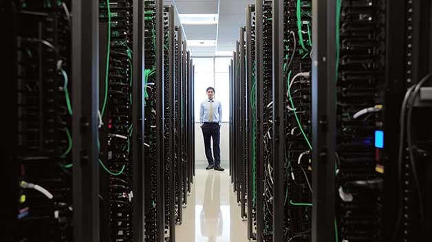 Man in Data Center