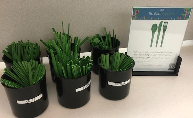 A display of biodegradable and compostable knives, forks, and spoons in RTP.