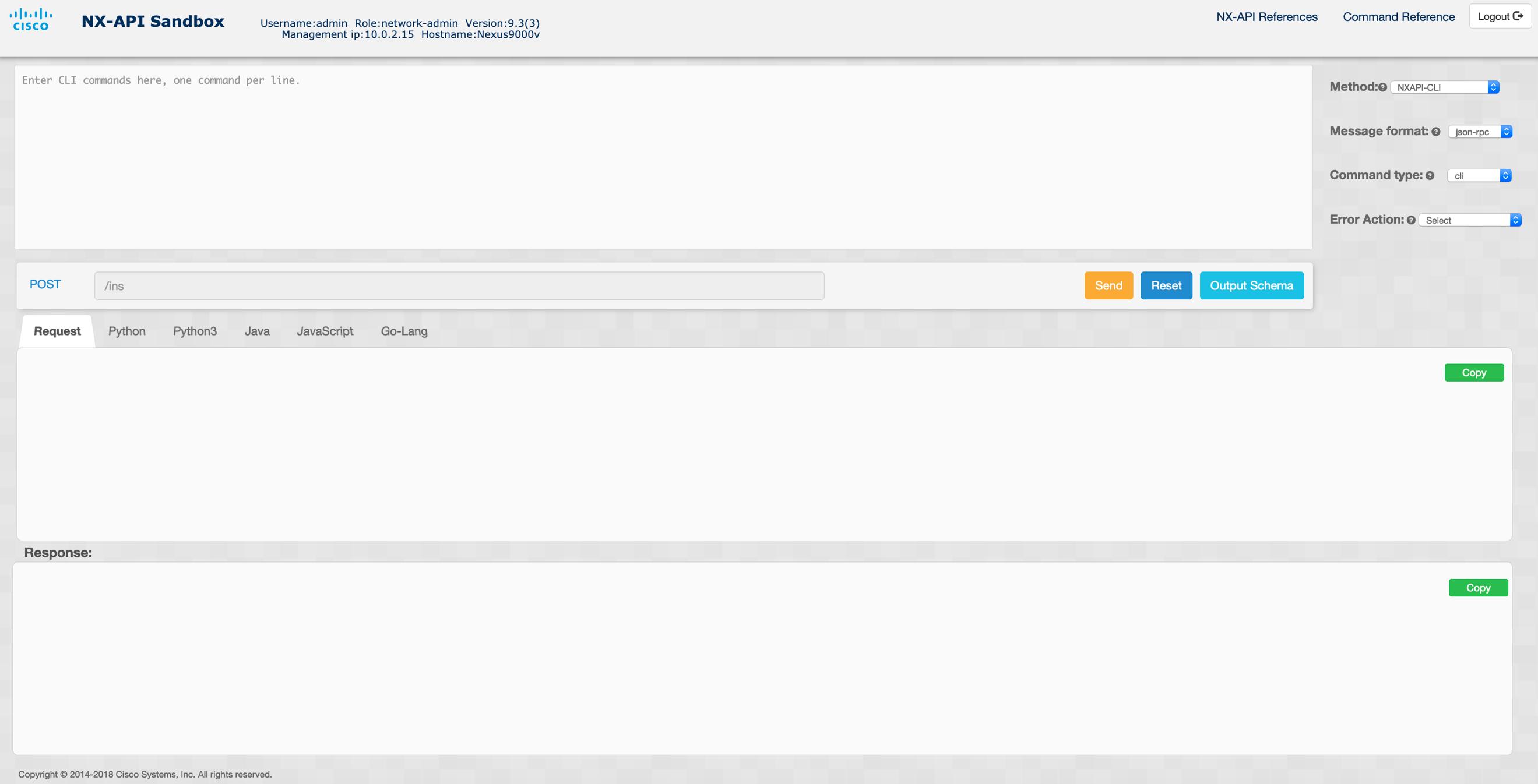 NX-OS NX-API sandbox
