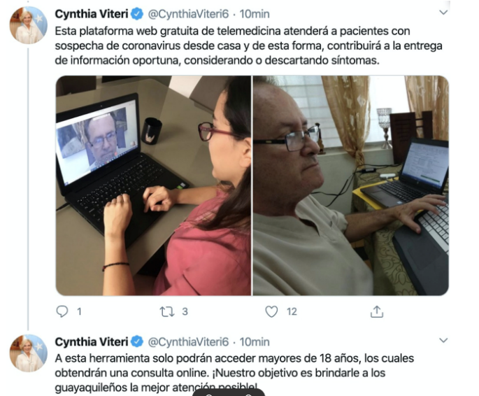 Ecuador uses Webex to screen for COVID-19 cases.
