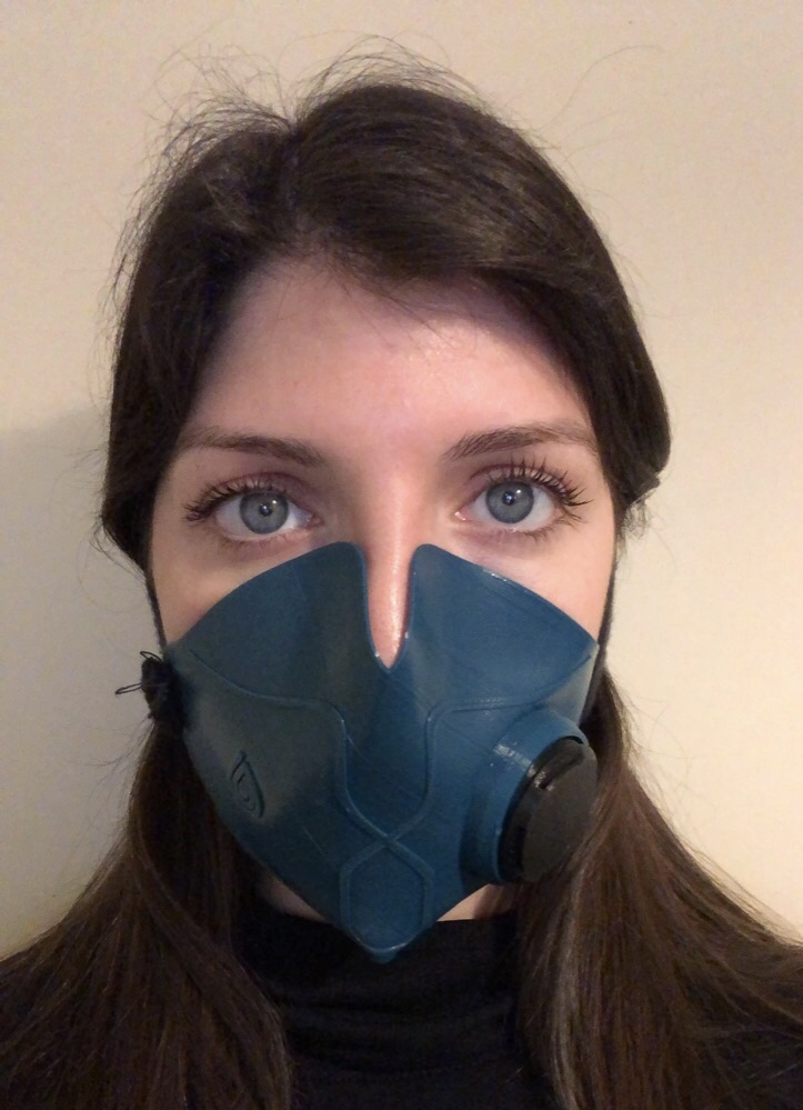 Michelle Florian trying on the OmniMask