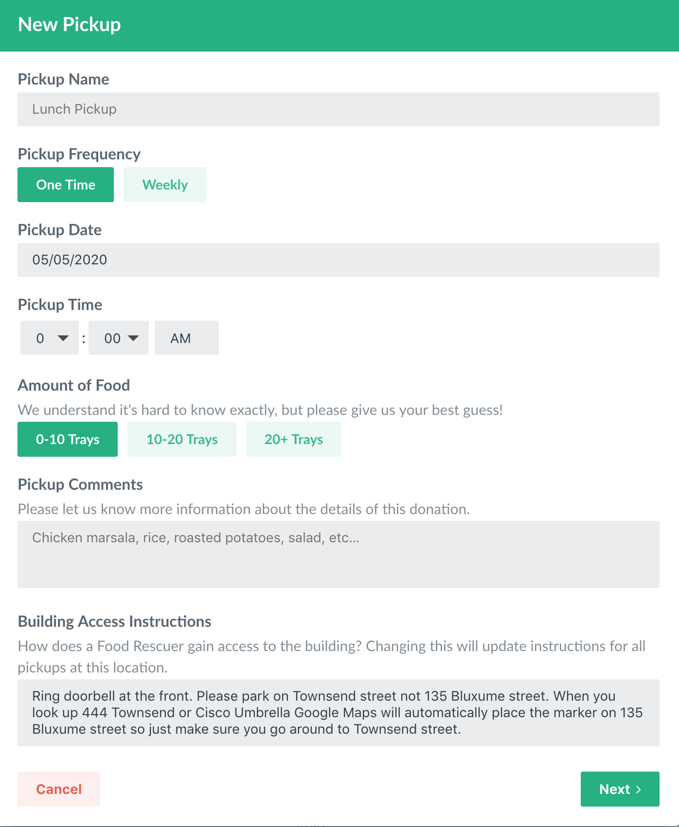 Donors can schedule a pickup through Replate's dashboard