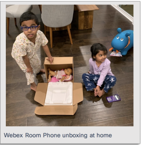 Kids plying with toys in the Webex Room box unpacking