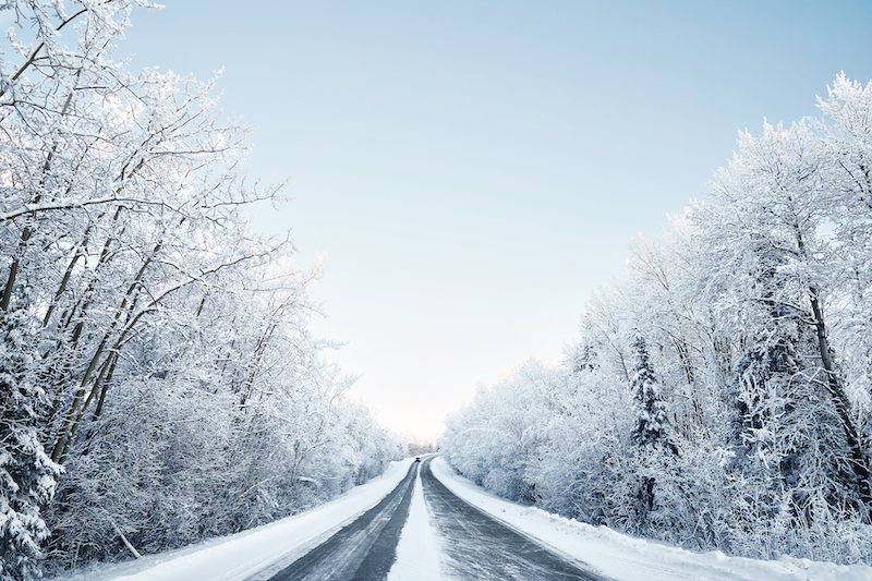snowy Alaskan road