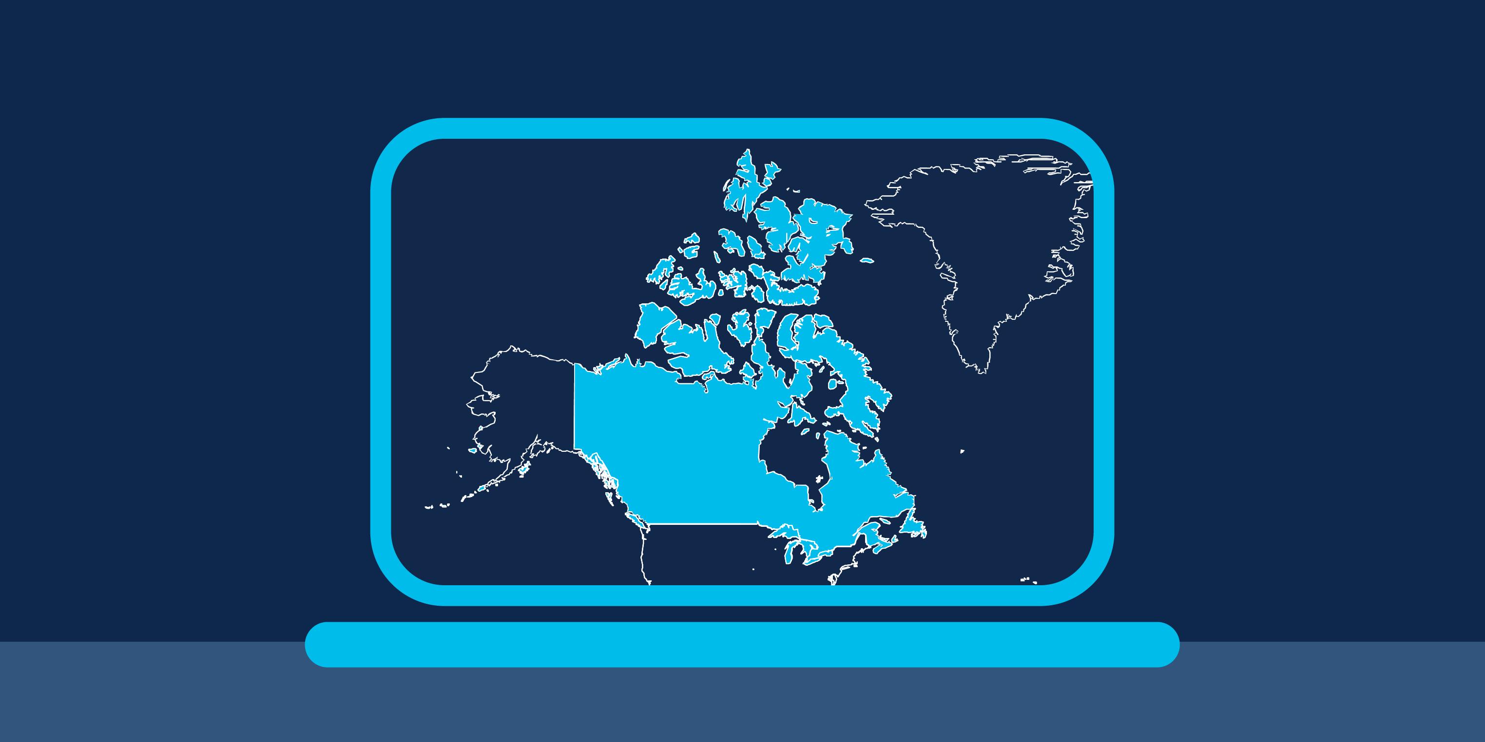 Canada map laptop screen