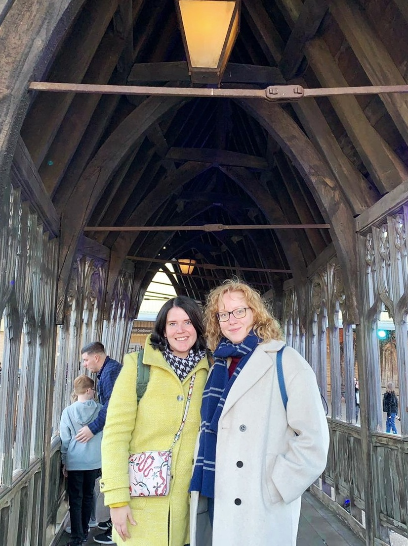 Silke and Jenny are all smiles on the Harry Potter studio tour.