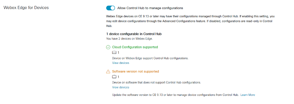 Webex Edge for Devices and IT administrator blog