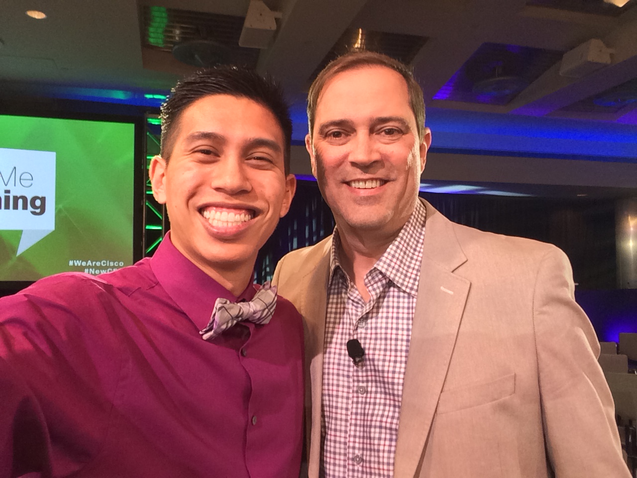 Justin Riray and Cisco CEO Chuck Robbins.
