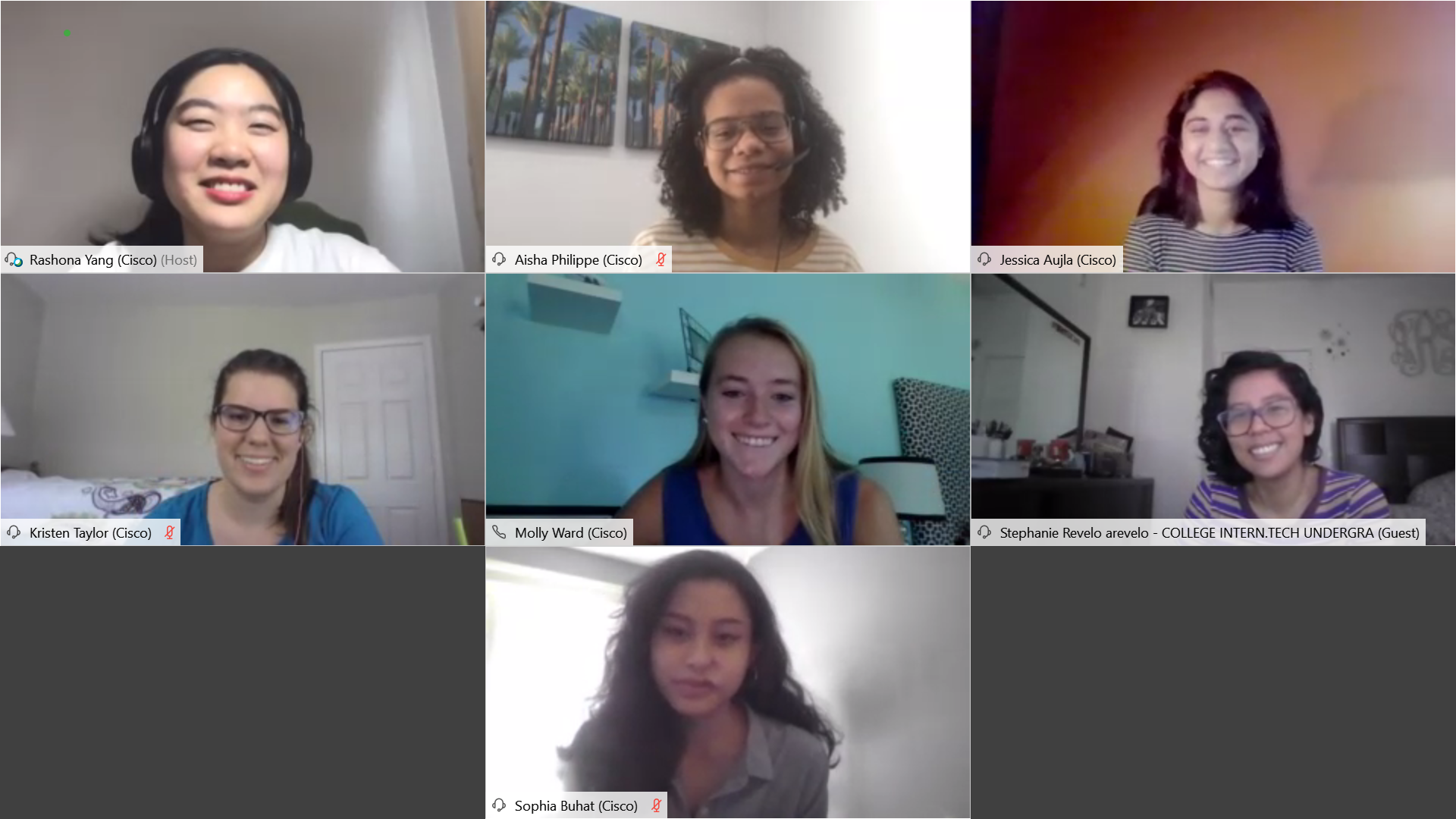 "A screenshot of the engineering interns enjoying their ""ladies coffee talk"" over Webex."